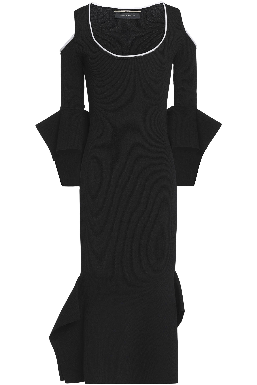 Roland Mouret Woman Cold-shoulder Flared Ribbed-knit Midi Dress Black Size M Roland Mouret wOe4SEMs