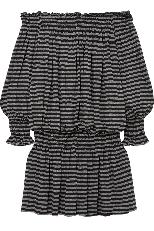b443af7474d22 Norma Kamali. Women's Woman Off-the-shoulder Striped Stretch-jersey Mini  Dress Black