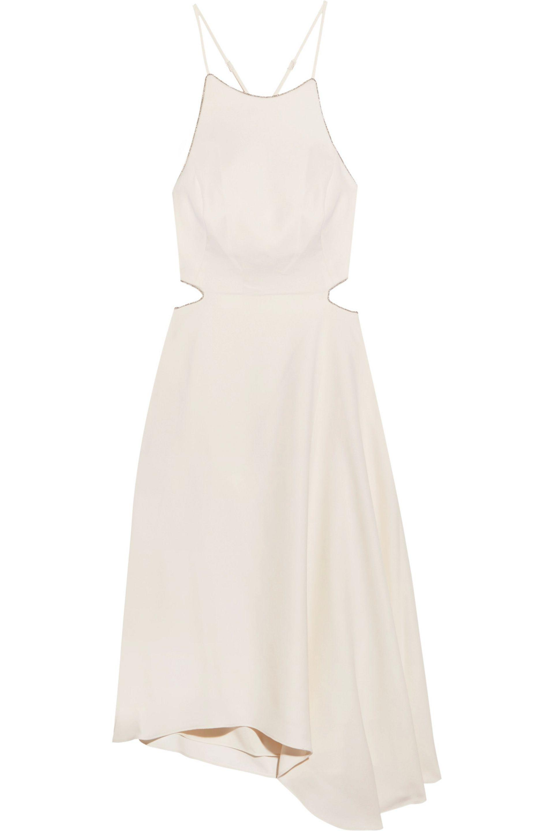 2018 Unisex Cheap Online Knock Off Halston Heritage Woman Asymmetric Embroidered Twill Midi Dress Beige Size 6 Halston Heritage Buy Cheap Original prPAPJX