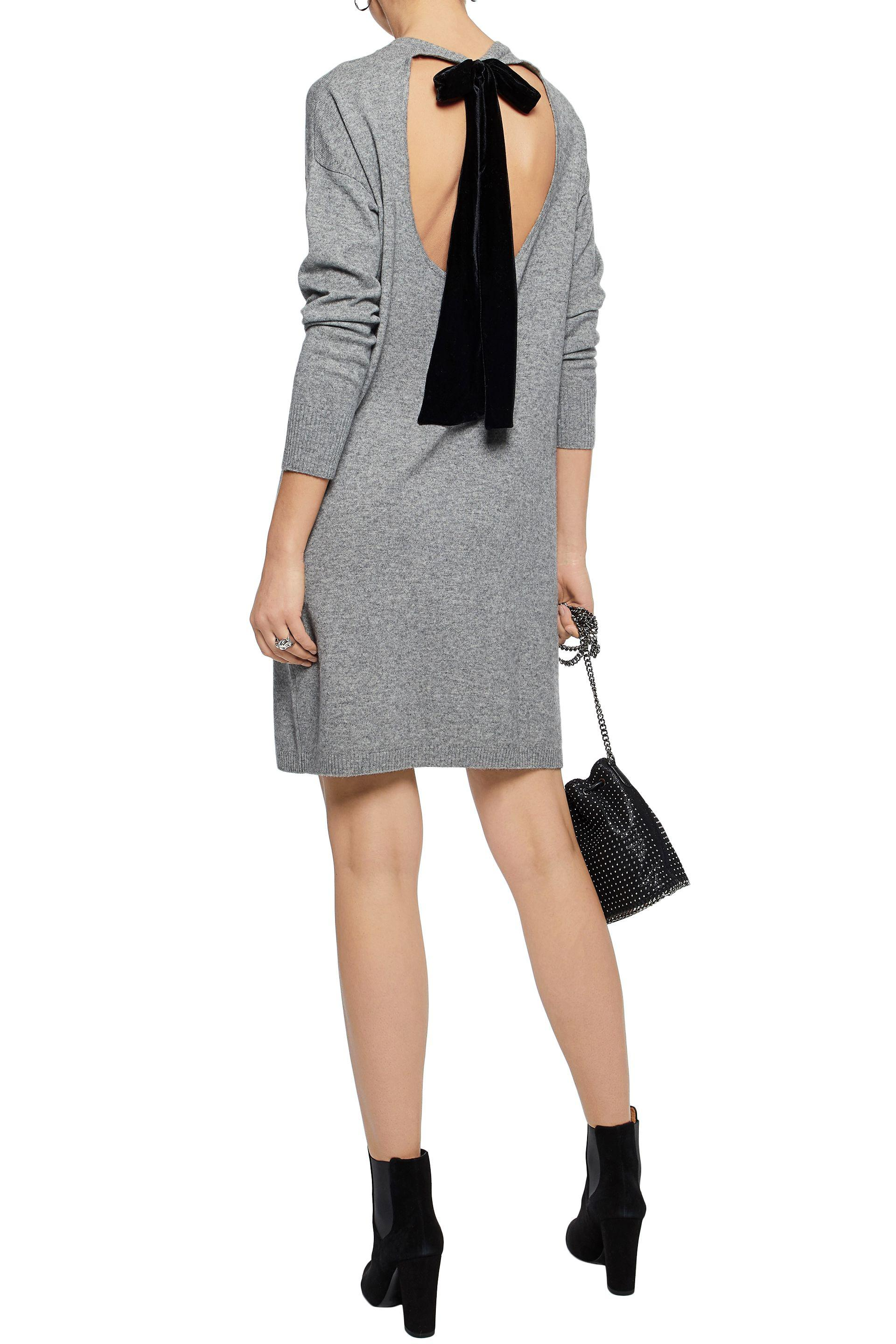 Chinti And Parker Woman Cutout Velvet-trimmed Mélange Wool And Cashmere-blend Mini Dress Gray Size M Chinti and Parker High Quality Buy Online Shop IPXIVXtKEp