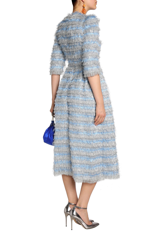 2dfa26fadfc Dolce   Gabbana Woman Striped Metallic Tinsel Midi Dress Sky Blue in ...