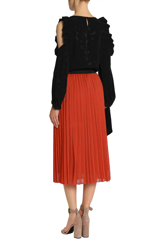5d57c6470f Maje Woman Pleated Metallic Ribbed-knit Midi Skirt Bright Orange in ...