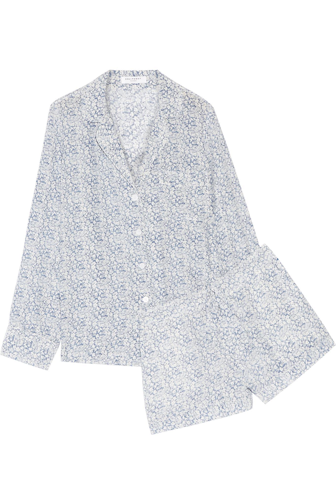 Lyst - Equipment Lilian Floral-print Washed-silk Pajama Set in Blue 5abb5c5b2
