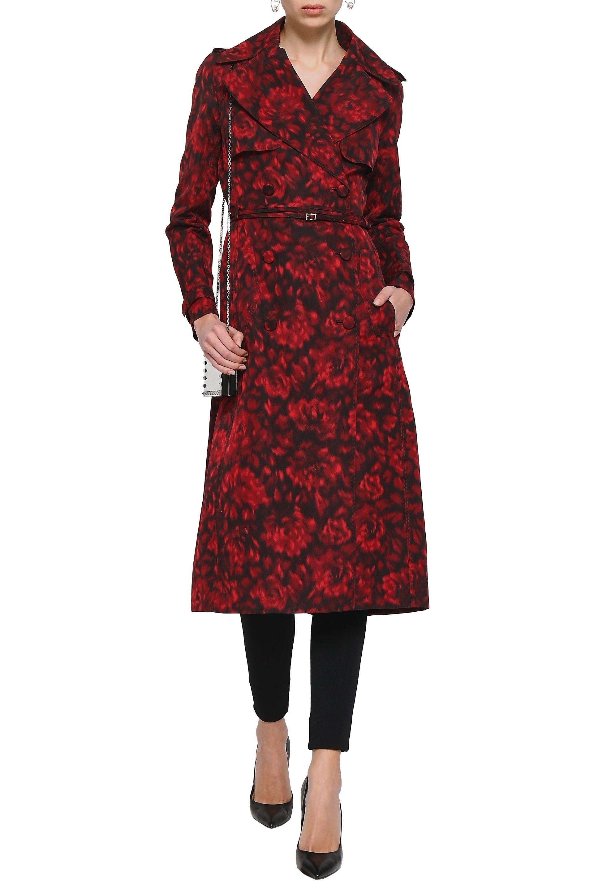 d4091e162f8 Valentino. Women's Red Woman Belted Printed Cotton And Silk-blend Trench  Coat Crimson
