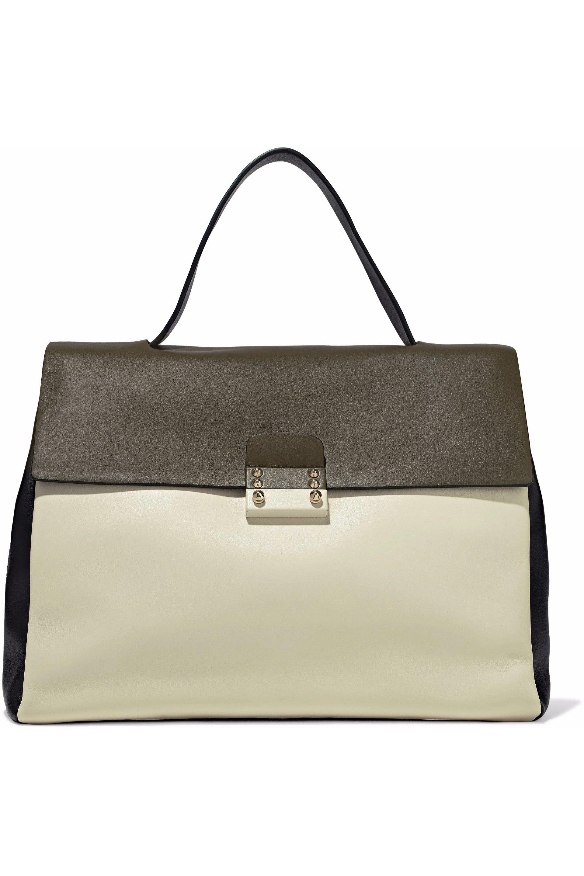 Valentino Colorblock Mime Handbag Leather Large