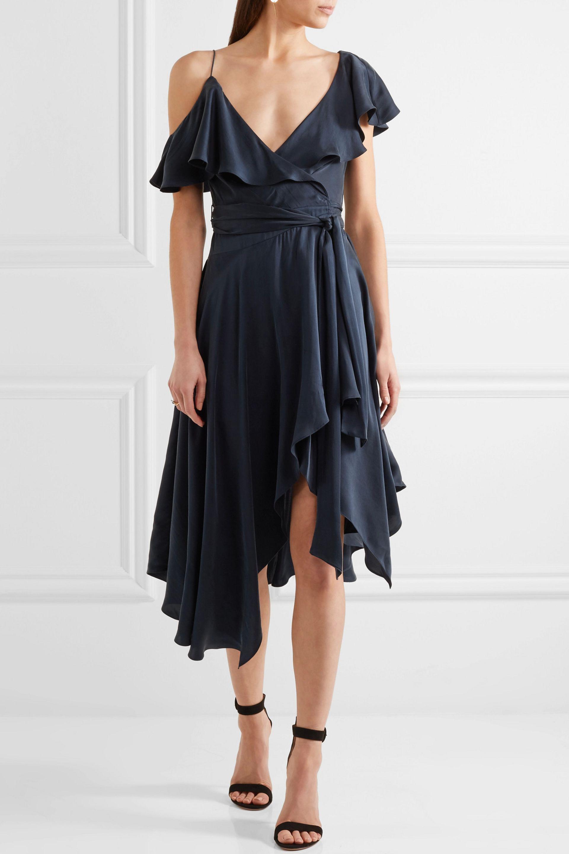 Zimmermann One Shoulder Ruffled Silk Wrap Midi Dress In