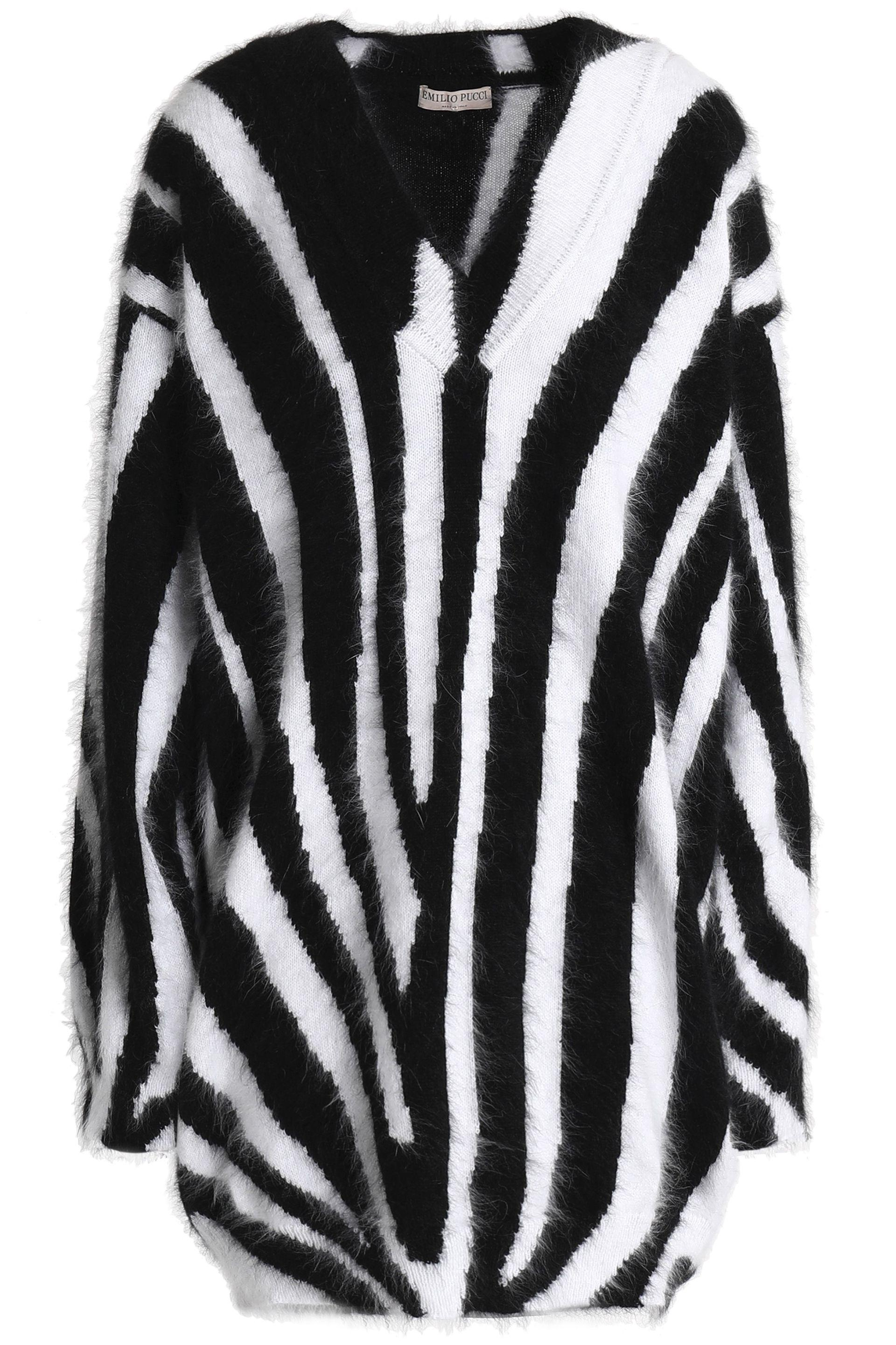3e1537b5d61d Lyst - Emilio Pucci Woman Zebra-print Angora-blend Mini Dress White ...