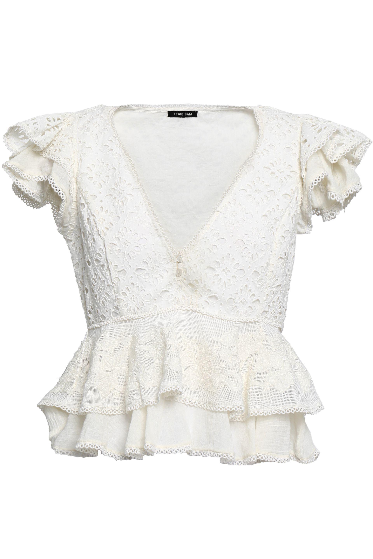 7e3fbf3d559e52 Love Sam - White Woman Ruffled Broderie Anglaise Cotton And Appliquéd Gauze  Top Ivory - Lyst. View fullscreen