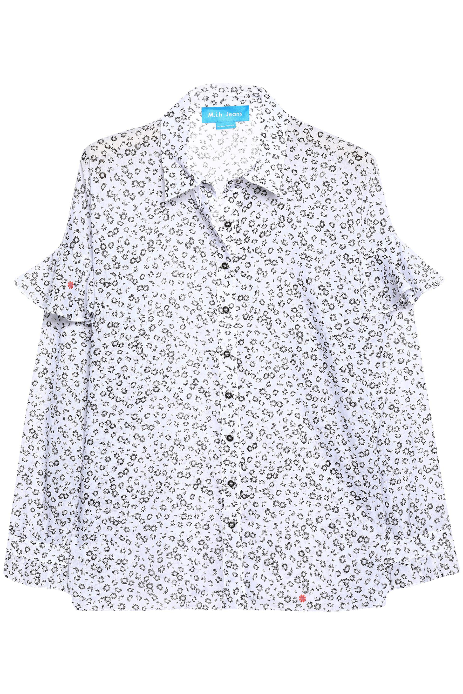 M.i.h Jeans Woman Baylis Ruffle-trimmed Floral-print Cotton-gauze Shirt White Size L Mih Jeans Latest Collections Cheap Online Countdown Package Sale Online Discount Wholesale Price Cost Sale Online RDFi6