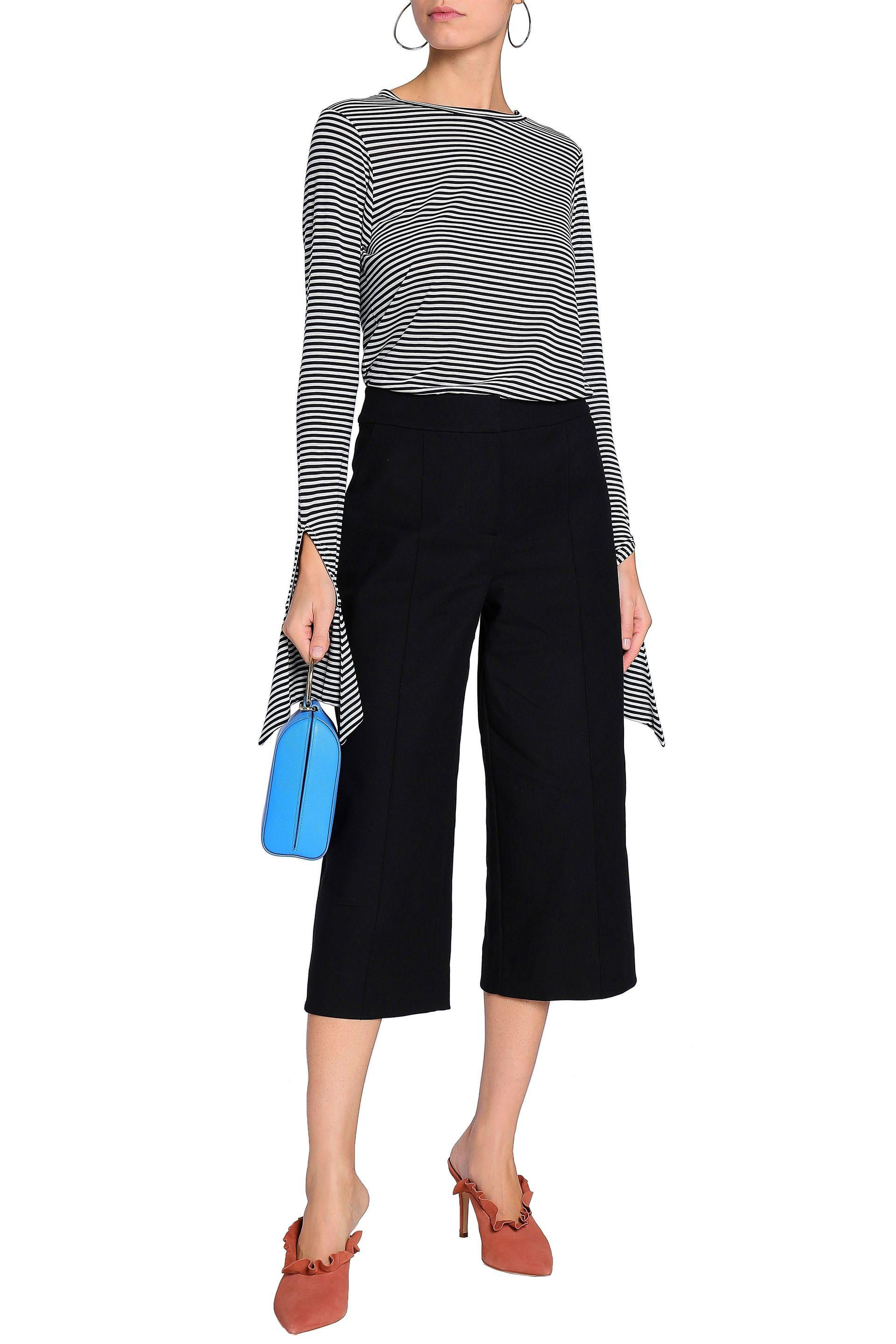 4065de56d4ee4 Kate Spade Woman Rambling Roses Cotton-blend Twill Culottes Black in ...