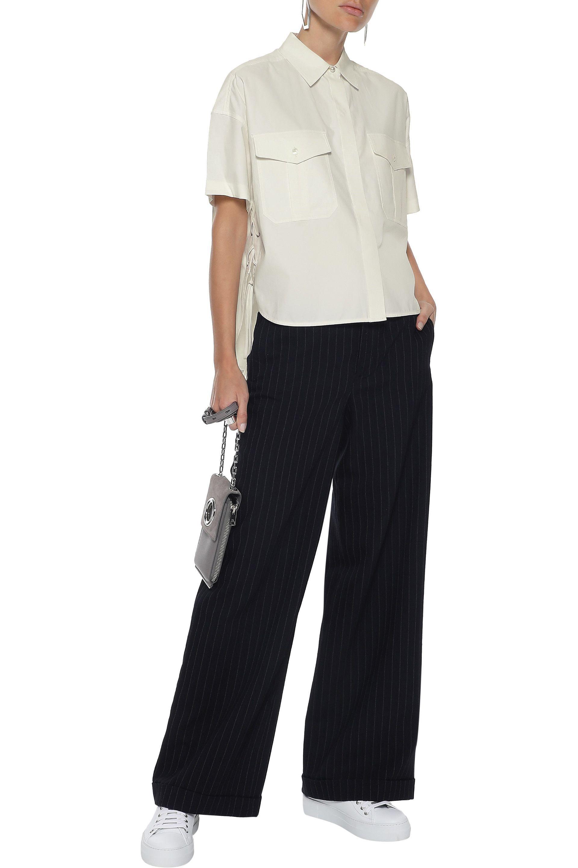 89993e51c86 Lyst - Rag & Bone Woman Mason Lace-up Sateen-twill Shirt Ivory in White