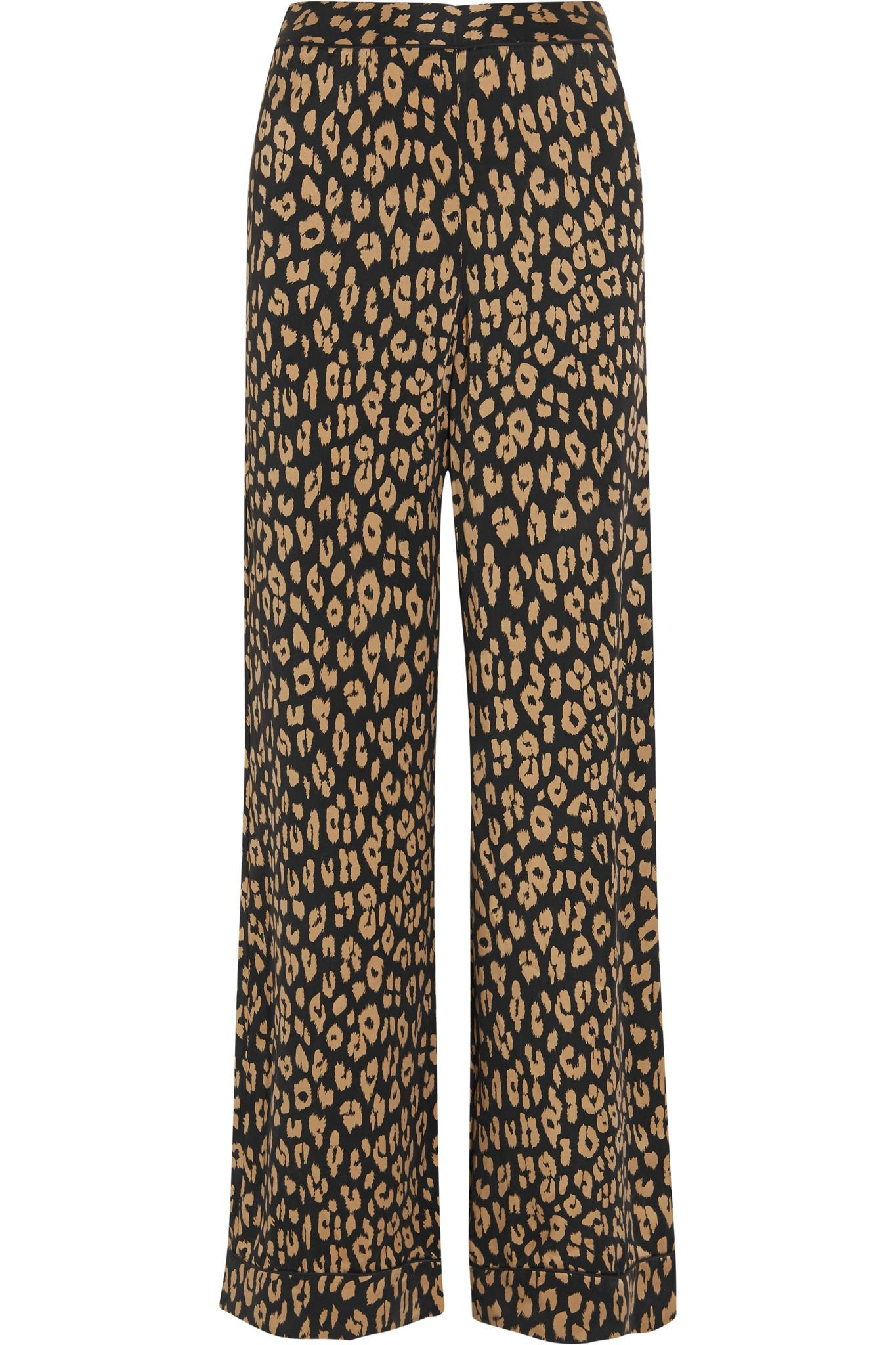 Lyst - Equipment + Kate Moss Avery Leopard-print Washed-silk Pajama ... 6d0898c03