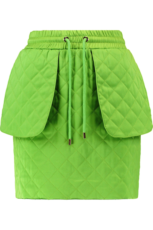 Moschino. Women's Green Quilted Jersey Mini Skirt