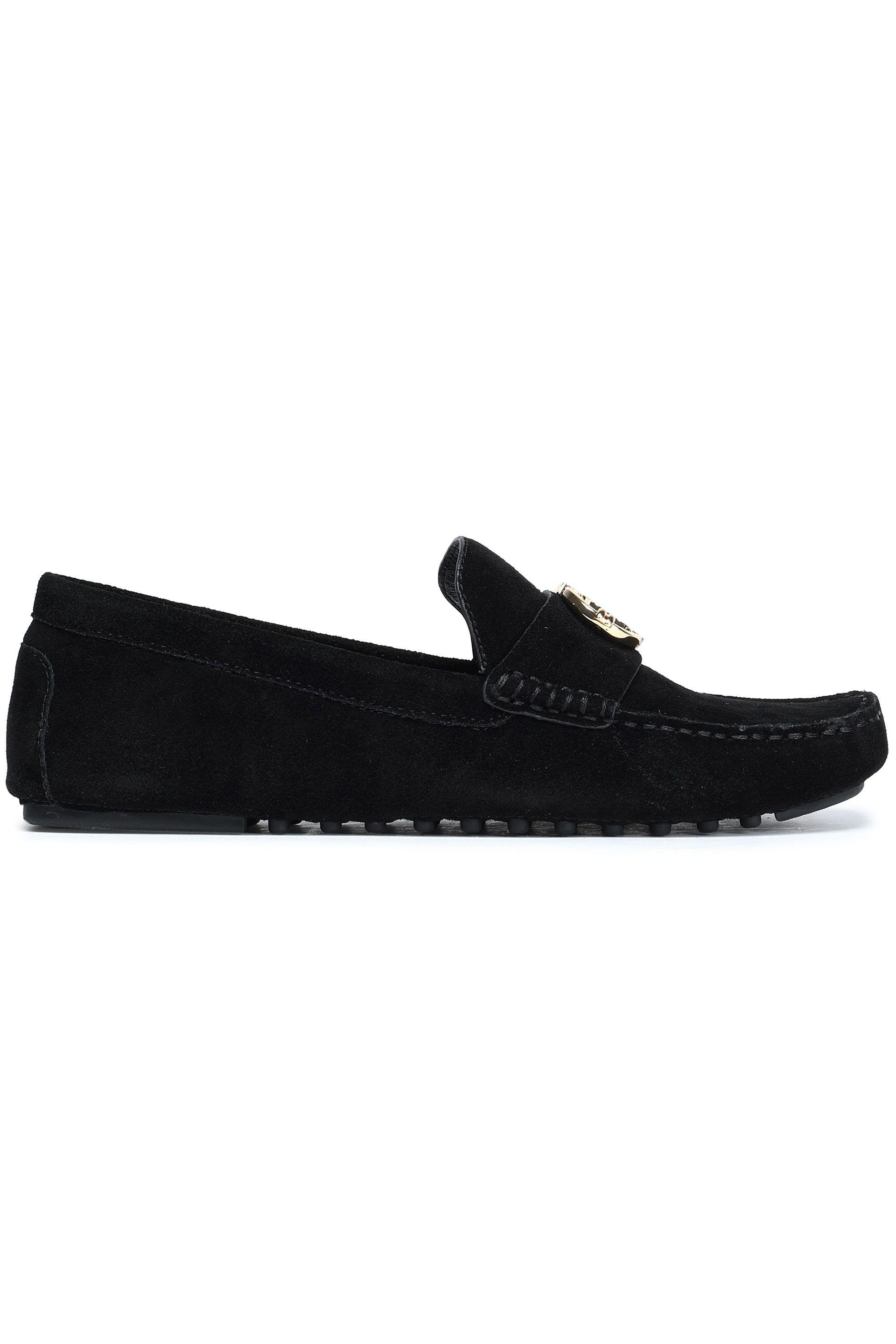 717c75708c1c Tory Burch Embellished Suede Loafers in Black - Lyst