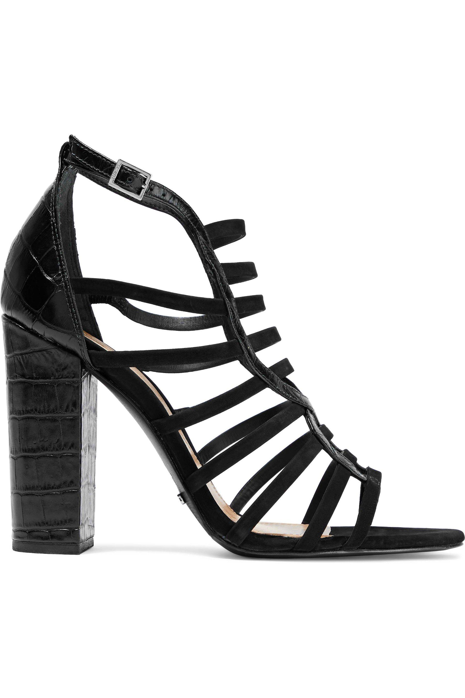 e86dec2b521b34 Schutz Kaye Croc-effect Leather And Nubuck Sandals in Black - Lyst