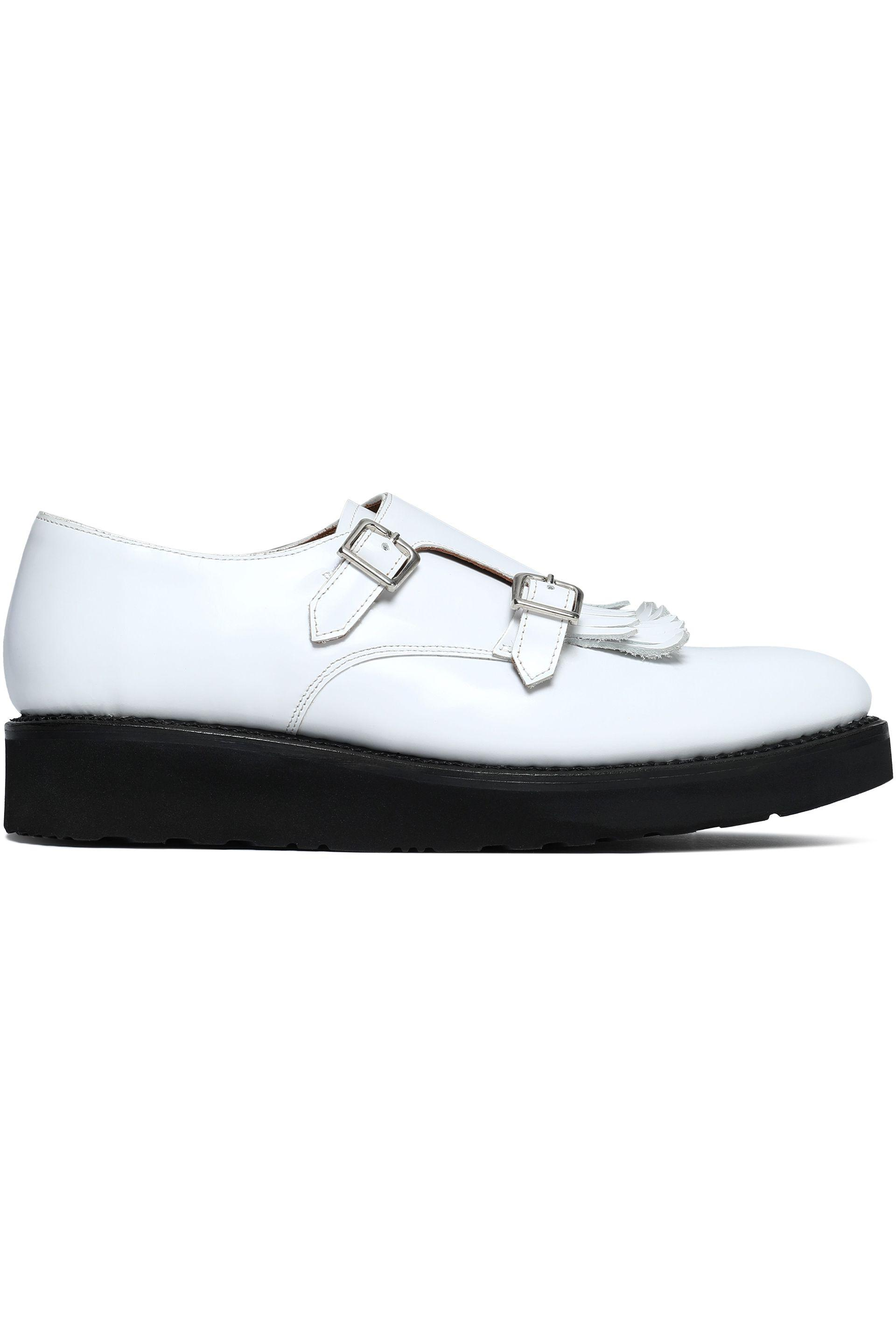 1670eca0fbf Grenson Buckled Fringed Leather Loafers in White - Lyst