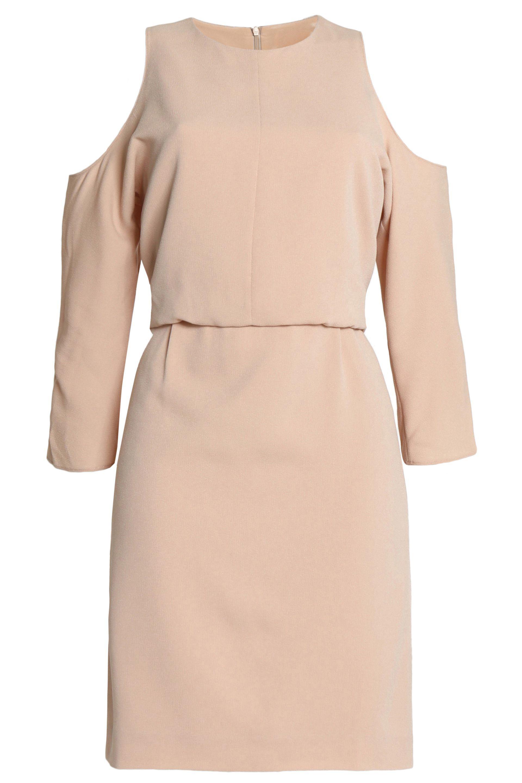 Tibi Woman Savanna Cold-shoulder Draped Crepe Mini Dress Beige Size 10 Tibi uRg3IW