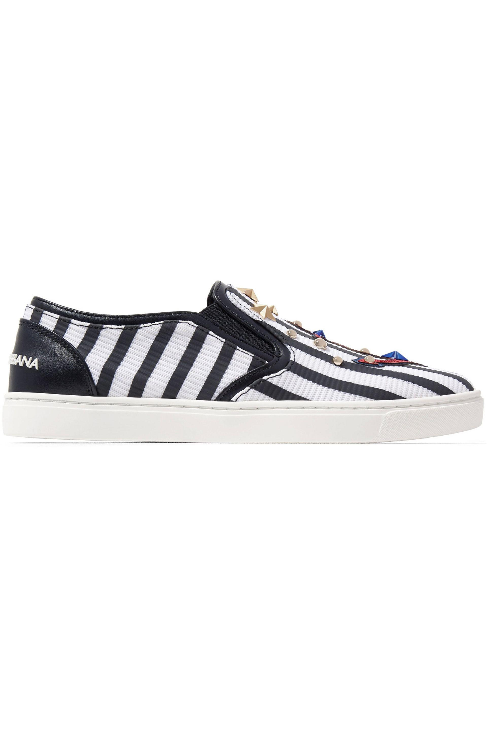 Dolce & Gabbana Leather Embellished Slip-On Sneakers deals cheap online scAnhODEp