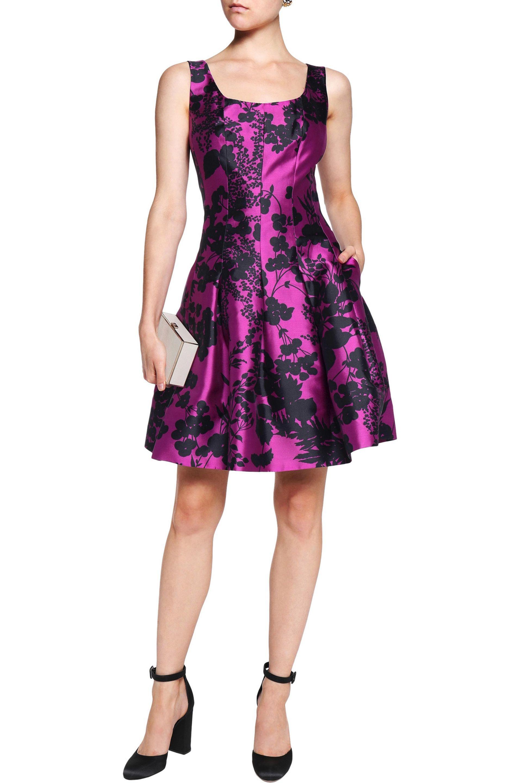 Lyst - Oscar De La Renta Pleated Floral-print Silk And Cotton-blend ...