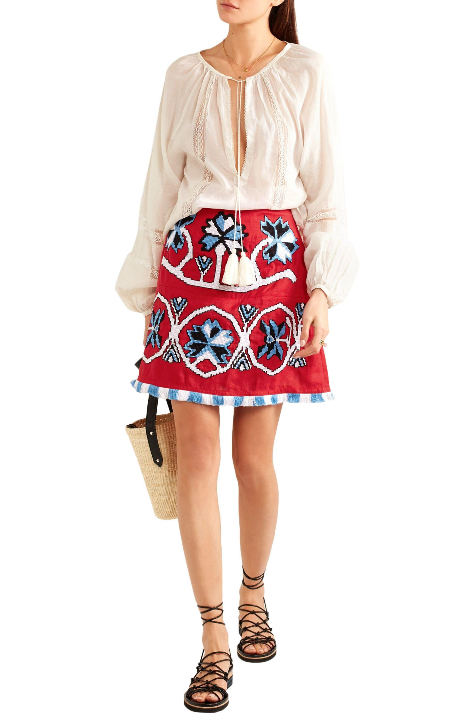 March 11 - Aliona Embroidered Linen Mini Skirt - Lyst. View Fullscreen