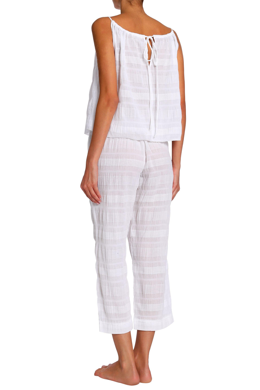 c596325cc782d1 Skin - Woman Cotton-blend Gauze Jacquard Pajama Top Off-white - Lyst. View  fullscreen