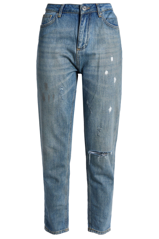 b459d1665baa Zoe Karssen. Women s Blue Woman Appliquéd Distressed High-rise Straight-leg  Jeans ...