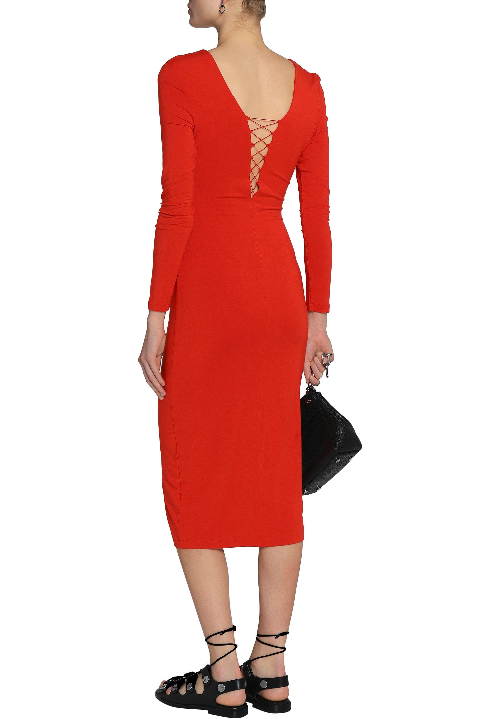 T By Alexander Wang Woman Lace-up Stretch-modal Jersey Midi Dress Red Size XS Alexander Wang ZtltFFQ