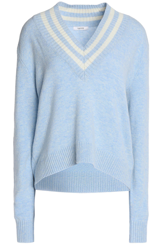 Ganni Woman Ribbed Merino Wool-blend Sweater Ivory Size S Ganni 03JQ5Y