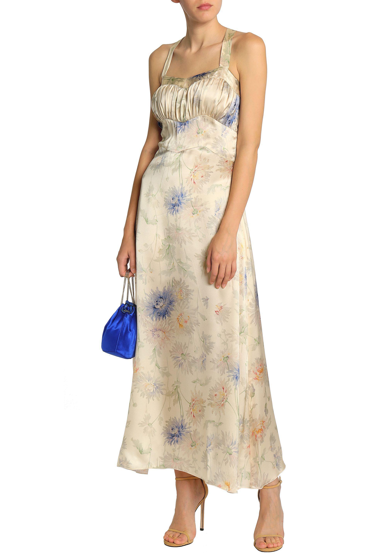 4090ecd851 Anna Sui - Natural Woman Gathered Floral-print Silk-satin Maxi Dress Cream  -. View fullscreen