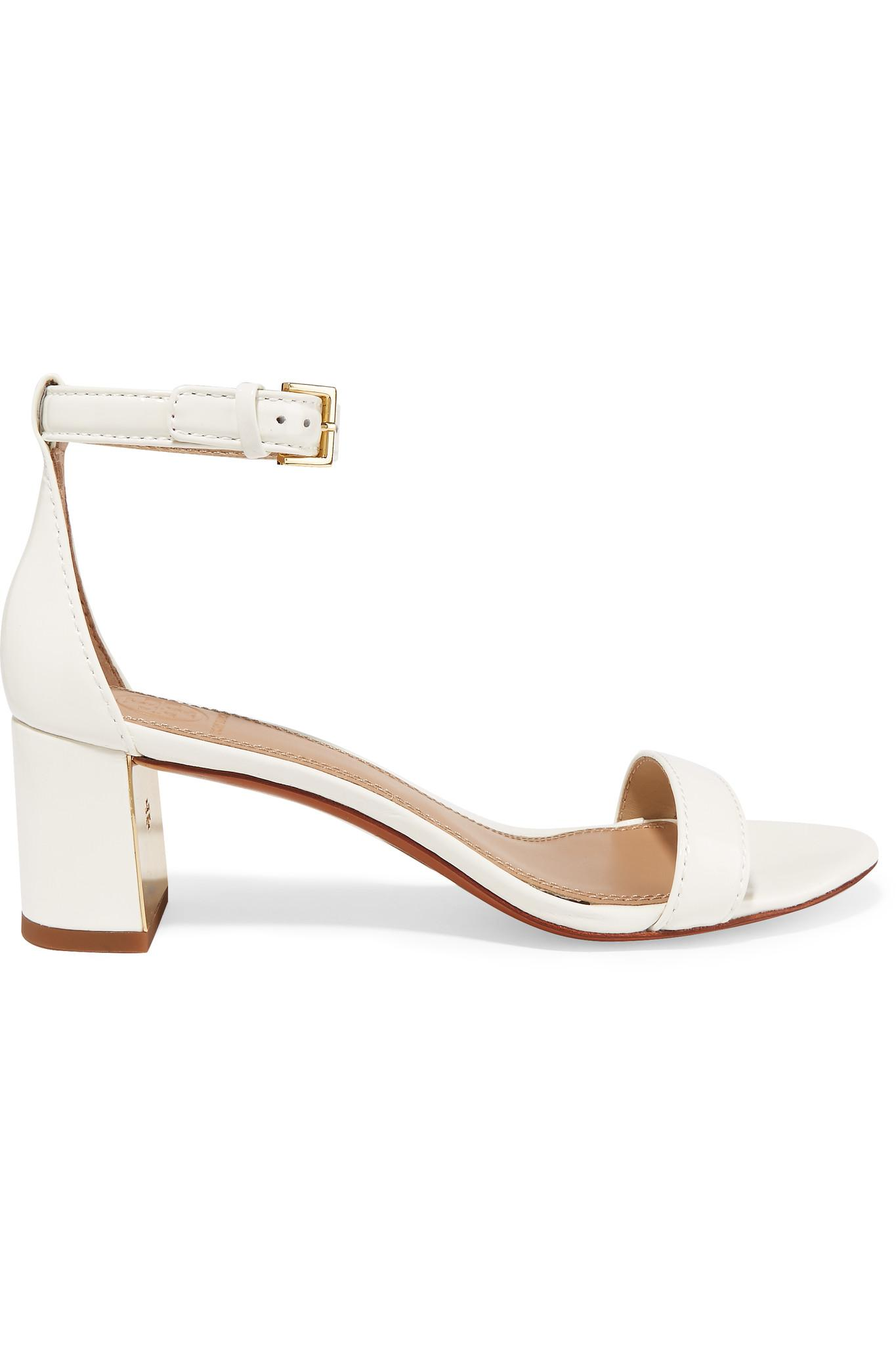 3dbf15734e468c Lyst - Tory Burch Cecile Patent-leather Sandals in White