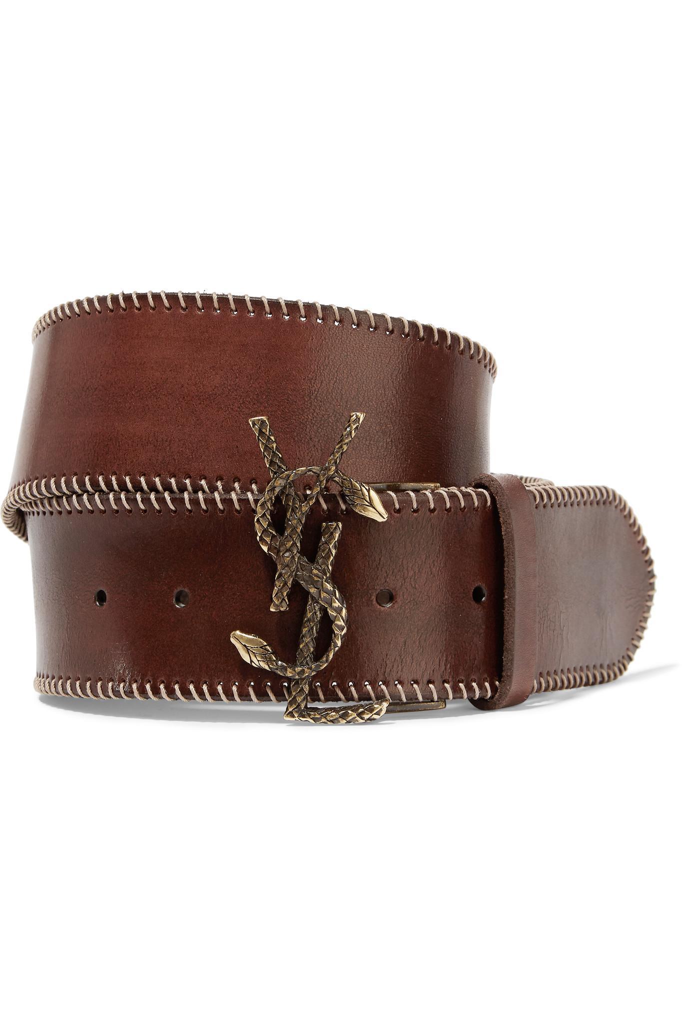 Saint Laurent Leather Belt In Brown Lyst