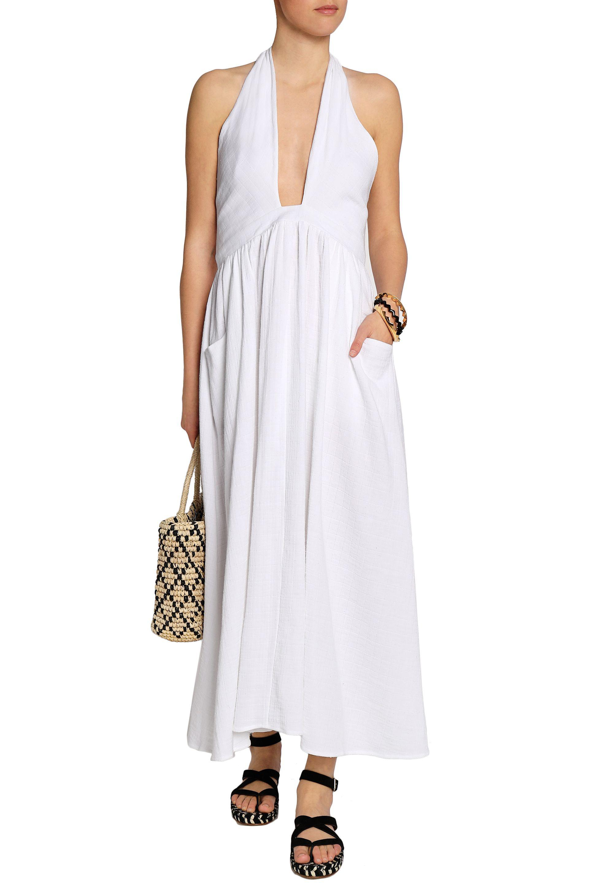 Mara Hoffman Woman Cotton-gauze Halterneck Maxi Dress White Size M Mara Hoffman