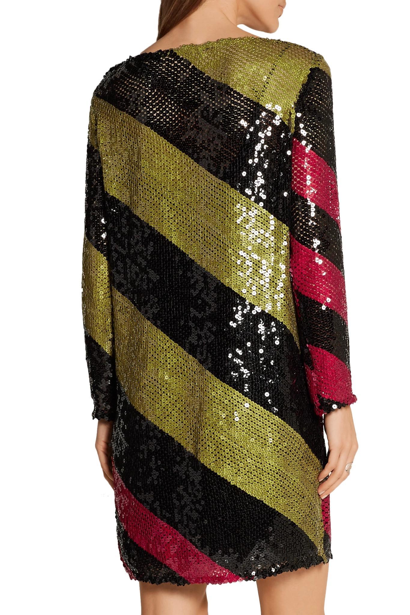 Lyst Sonia Rykiel Sequins Striped Short Dress In Black