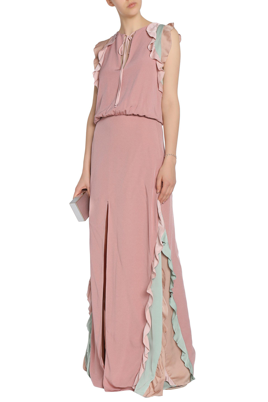 Alexis Woman Ruffle-trimmed Color-block Crepe Mini Dress Antique Rose Size M Alexis NVnASsukJ