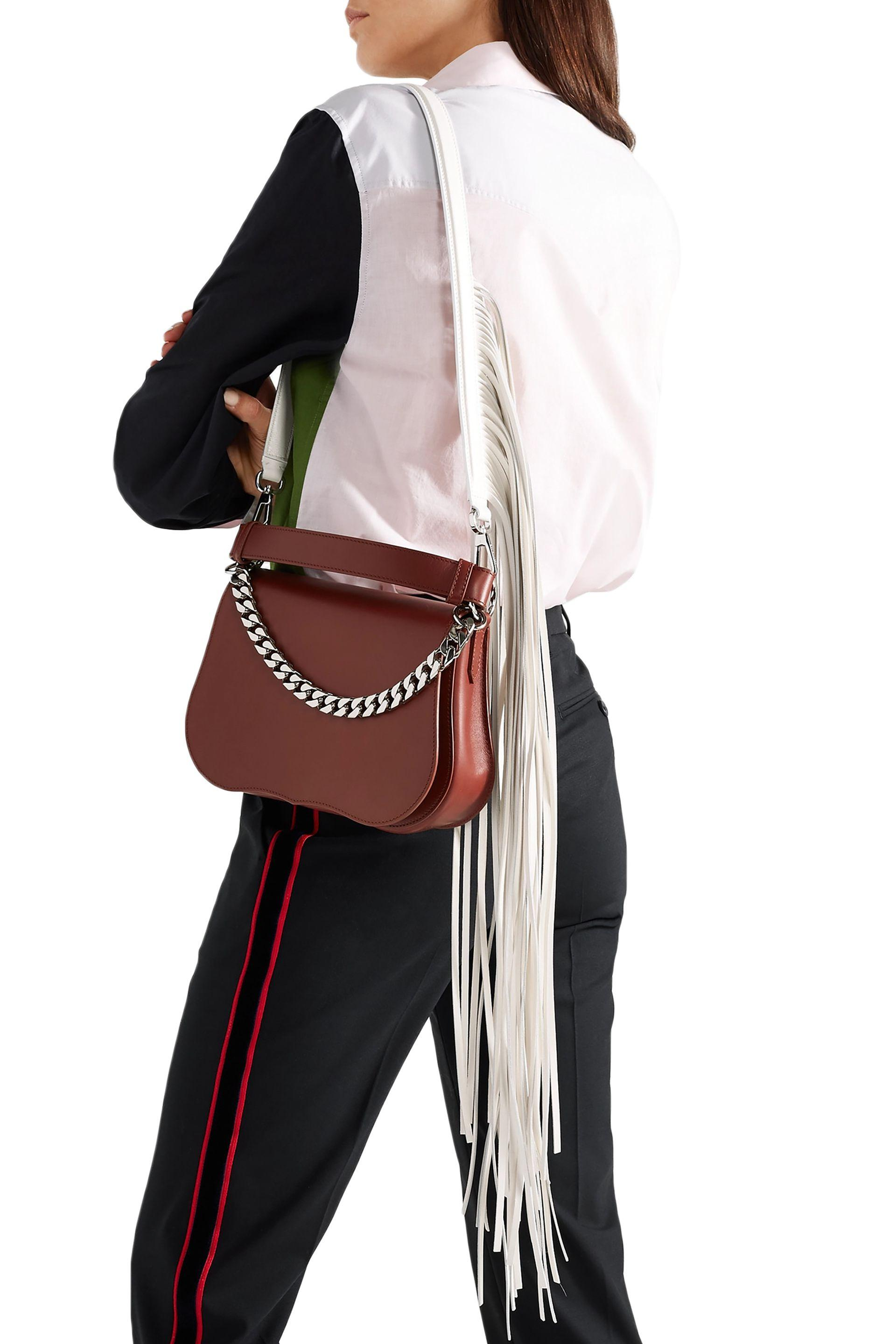 91c17bbe761 CALVIN KLEIN 205W39NYC - Woman Chain-embellished Fringed Leather Shoulder  Bag Brown - Lyst. View fullscreen