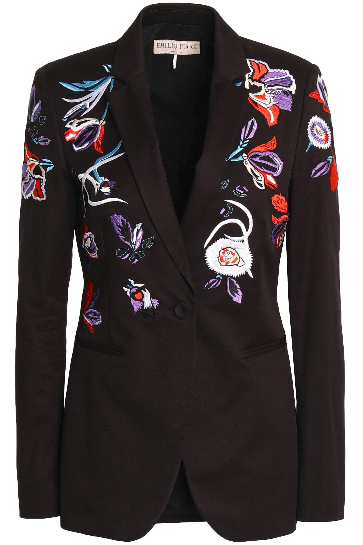 e22a8e38ce4c Lyst - Emilio Pucci Woman Embroidered Stretch-cotton Twill Blazer ...