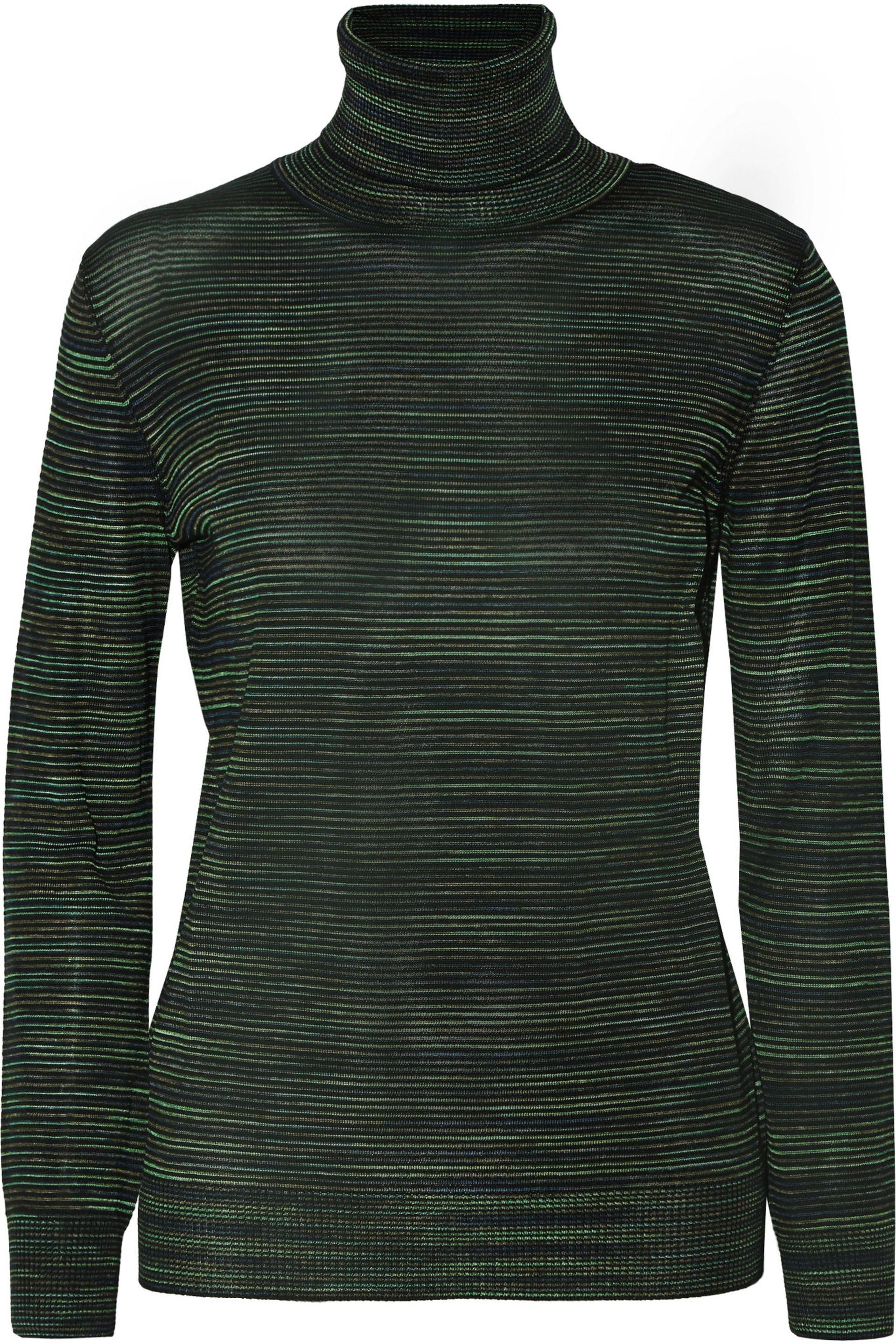 M missoni Striped Wool-blend Turtleneck Sweater Forest Green in ...