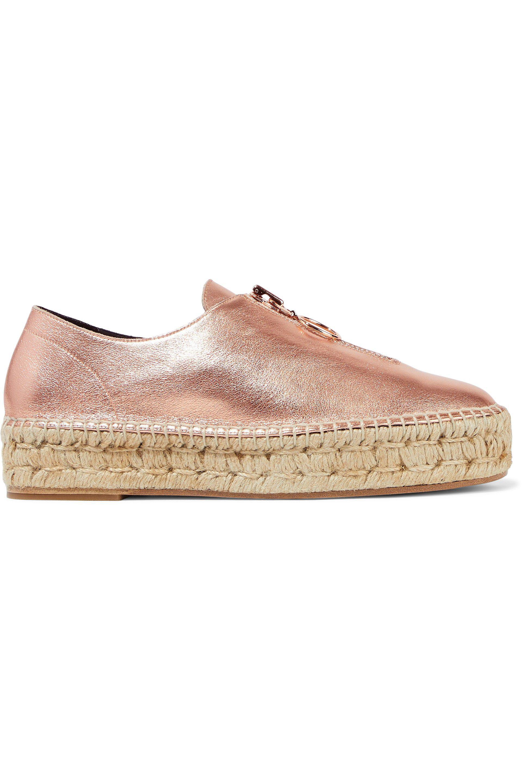 Alexander Wang. Women's Pink Devon Metallic Textured-leather Platform  Espadrilles