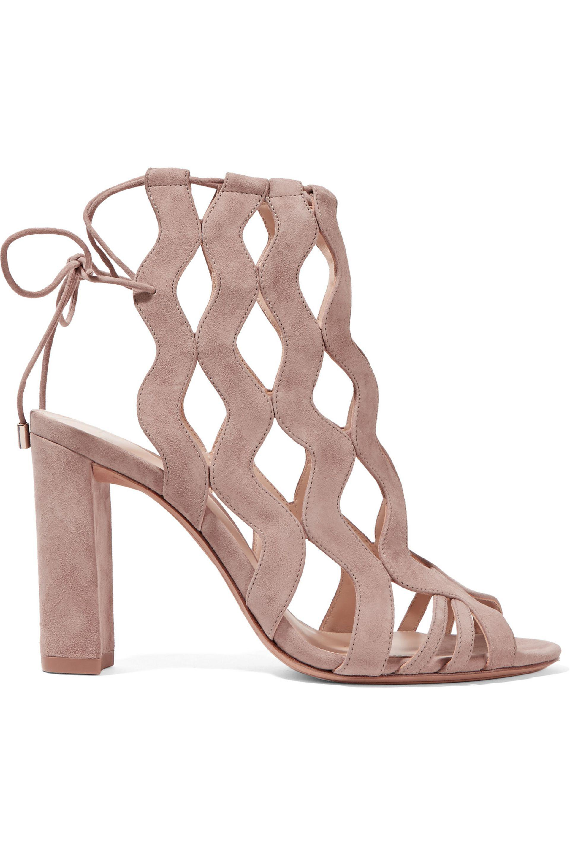 Alexandre Birman. Women's Natural Loretta Cutout Suede Sandals