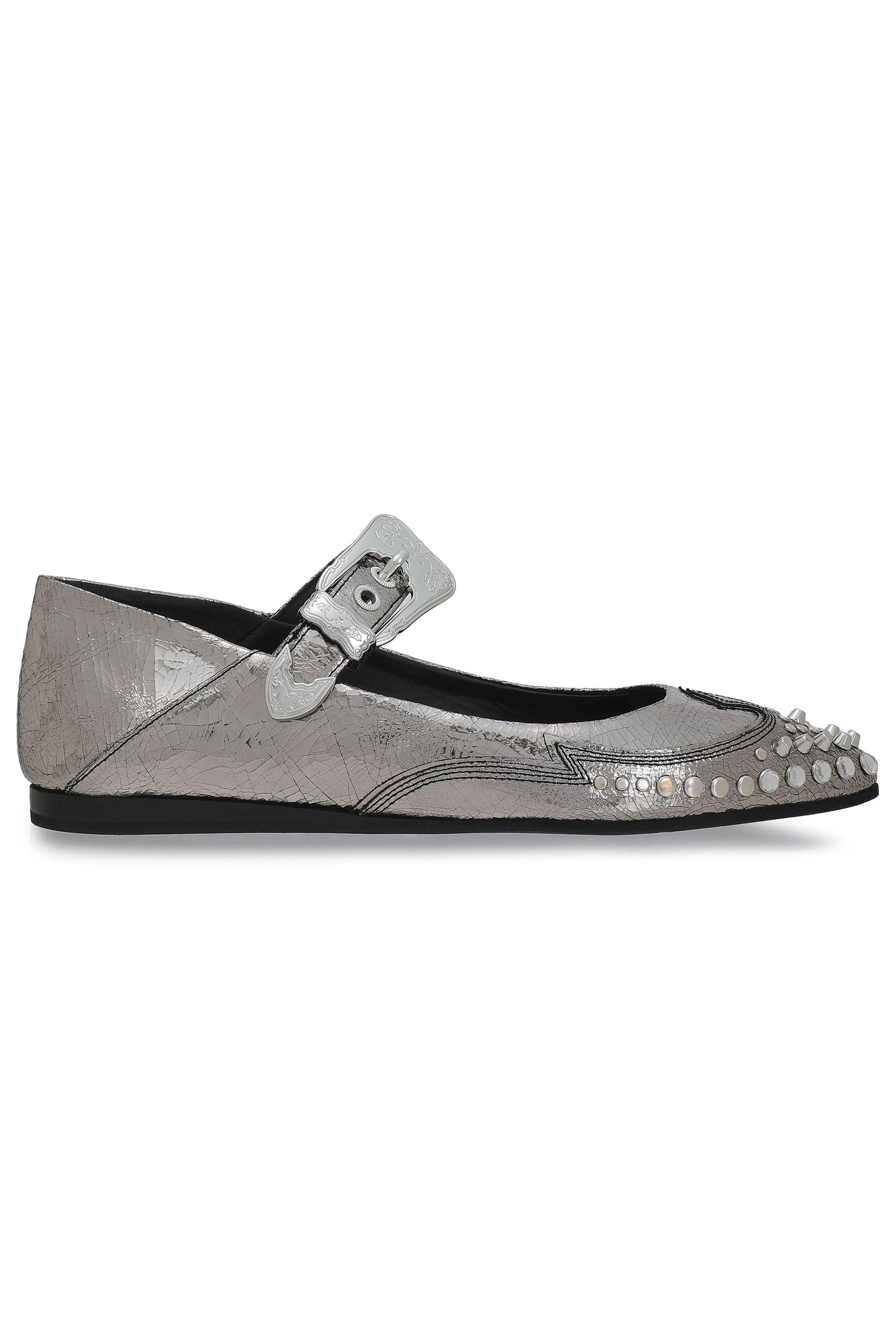 393174a33cd Lyst - McQ Woman Studded Metallic Cracked-leather Point-toe Flats ...