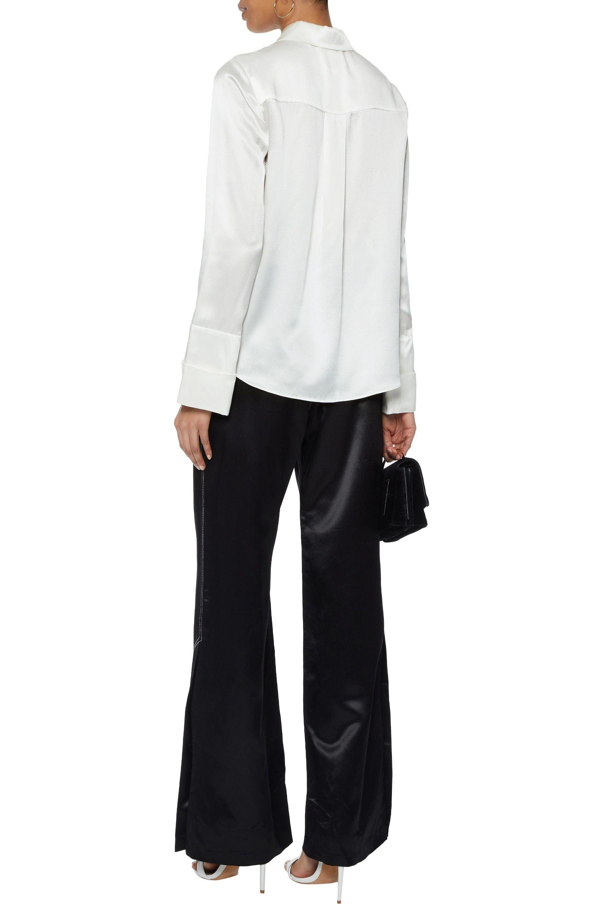 Cinq À Sept Woman Korlan Lace-trimmed Silk-satin Shirt Ivory Size L Cinq à Sept With Mastercard Cheap Online Shop Offer Clearance Outlet High Quality Free Shipping Cost Y4cKY
