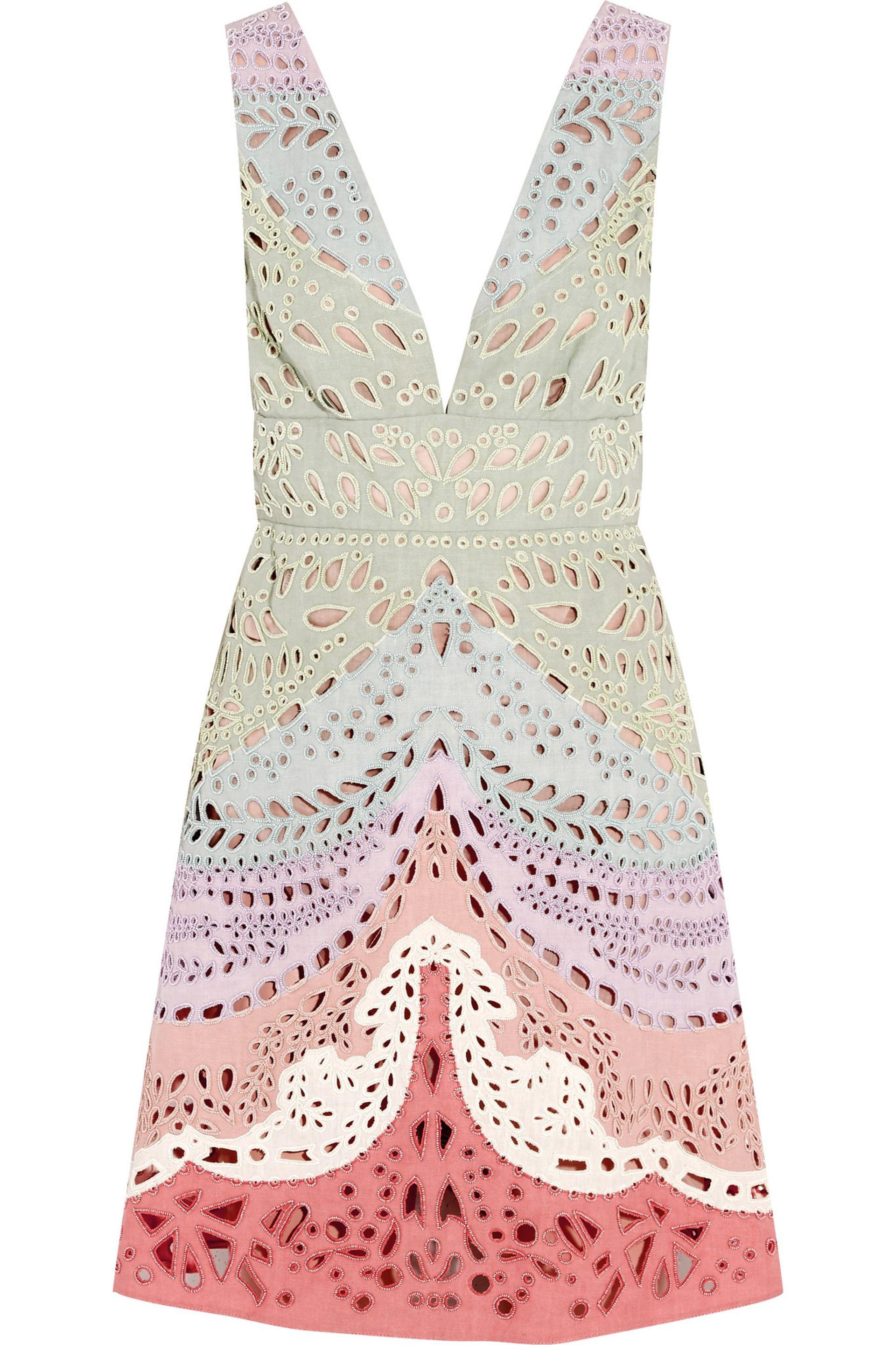 5a0a0ea630b2 Valentino. Women s Embellished Broderie Anglaise Linen Mini Dress