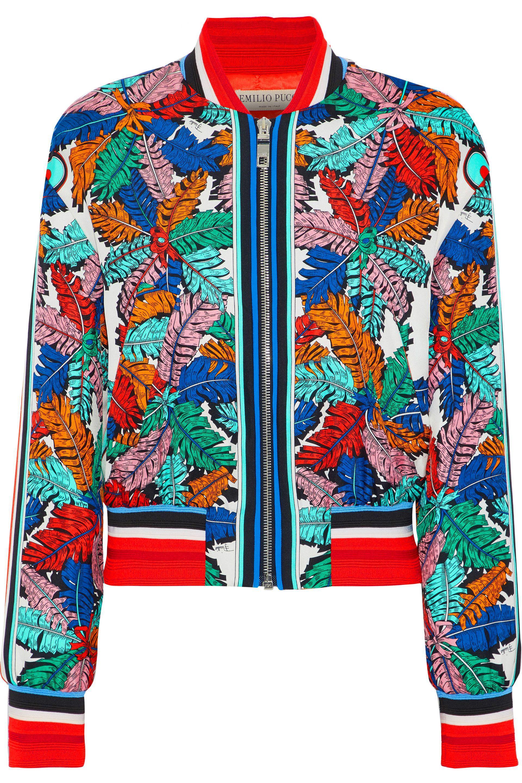 5a4fec78625e Lyst - Emilio Pucci Printed Silk-twill Bomber Jacket in Blue