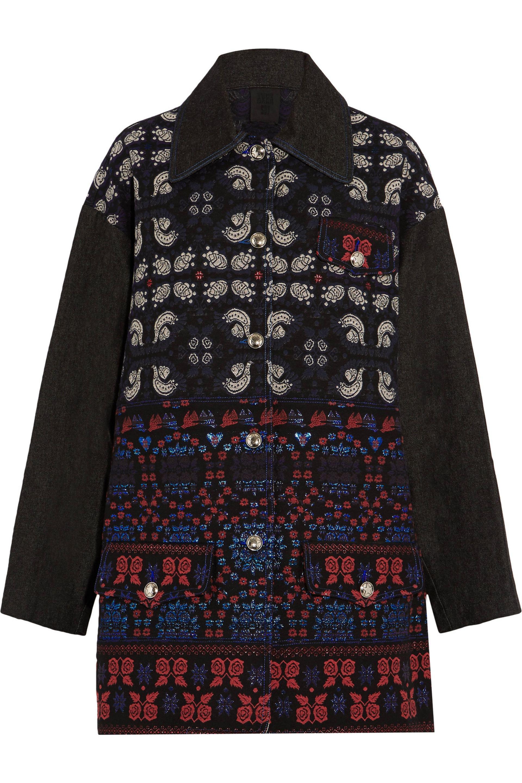 Anna Sui. Women's Black Denim And Jacquard Jacket