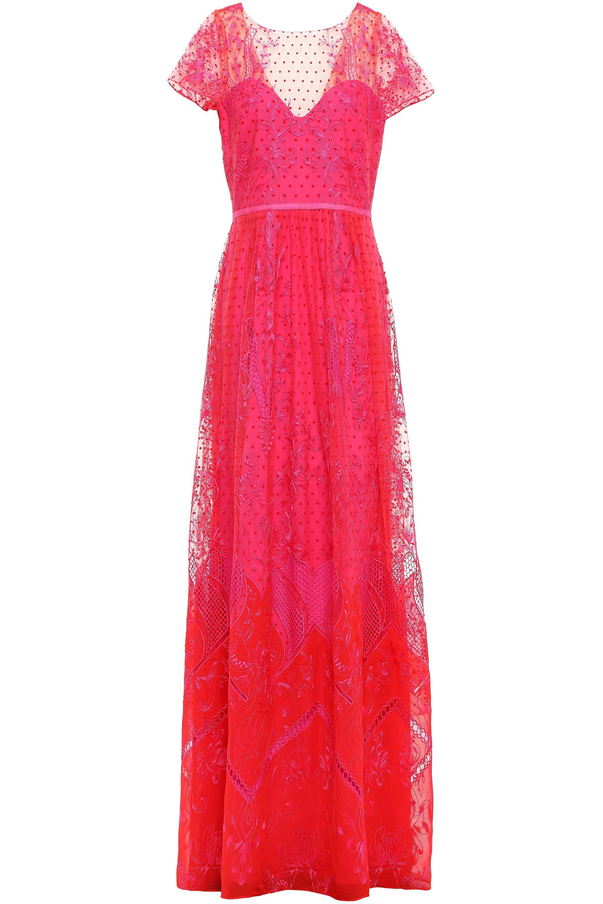 Women S Embroidered Flocked Tulle And Chiffon Gown Bright Pink