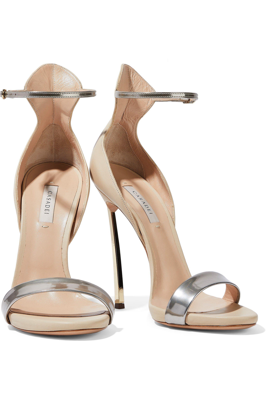 ccbd5977e72 Lyst - Casadei Woman Techno Blade Matte And Metallic Leather Sandals ...