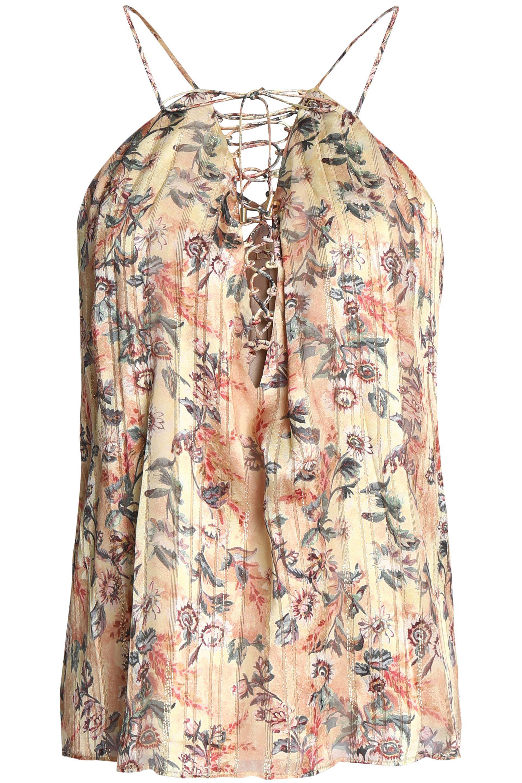 d160d969b48bf Lyst - Haute Hippie Lace-up Floral-print Metallic Silk-blend ...