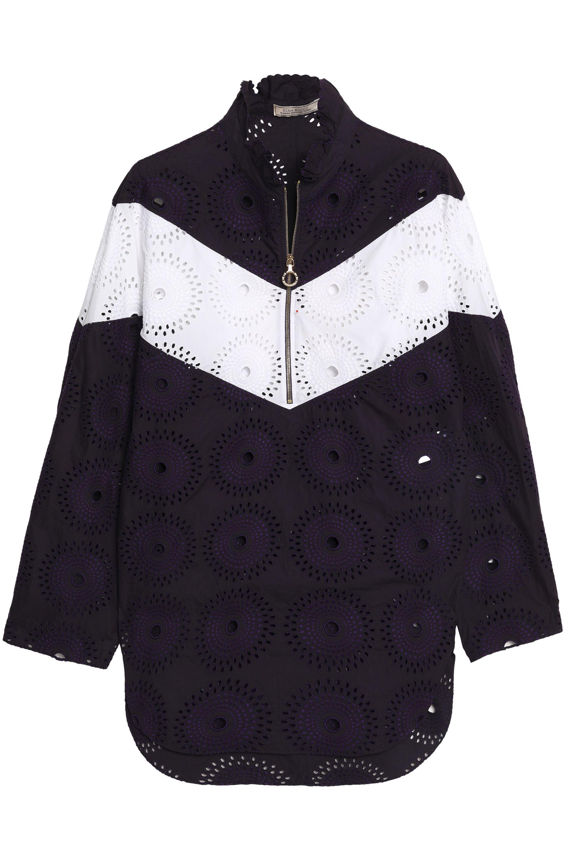 Nina Ricci Woman Broderie Anglaise-paneled Cotton-poplin Tunic Gray Size 38 Nina Ricci New KfceqbF1K
