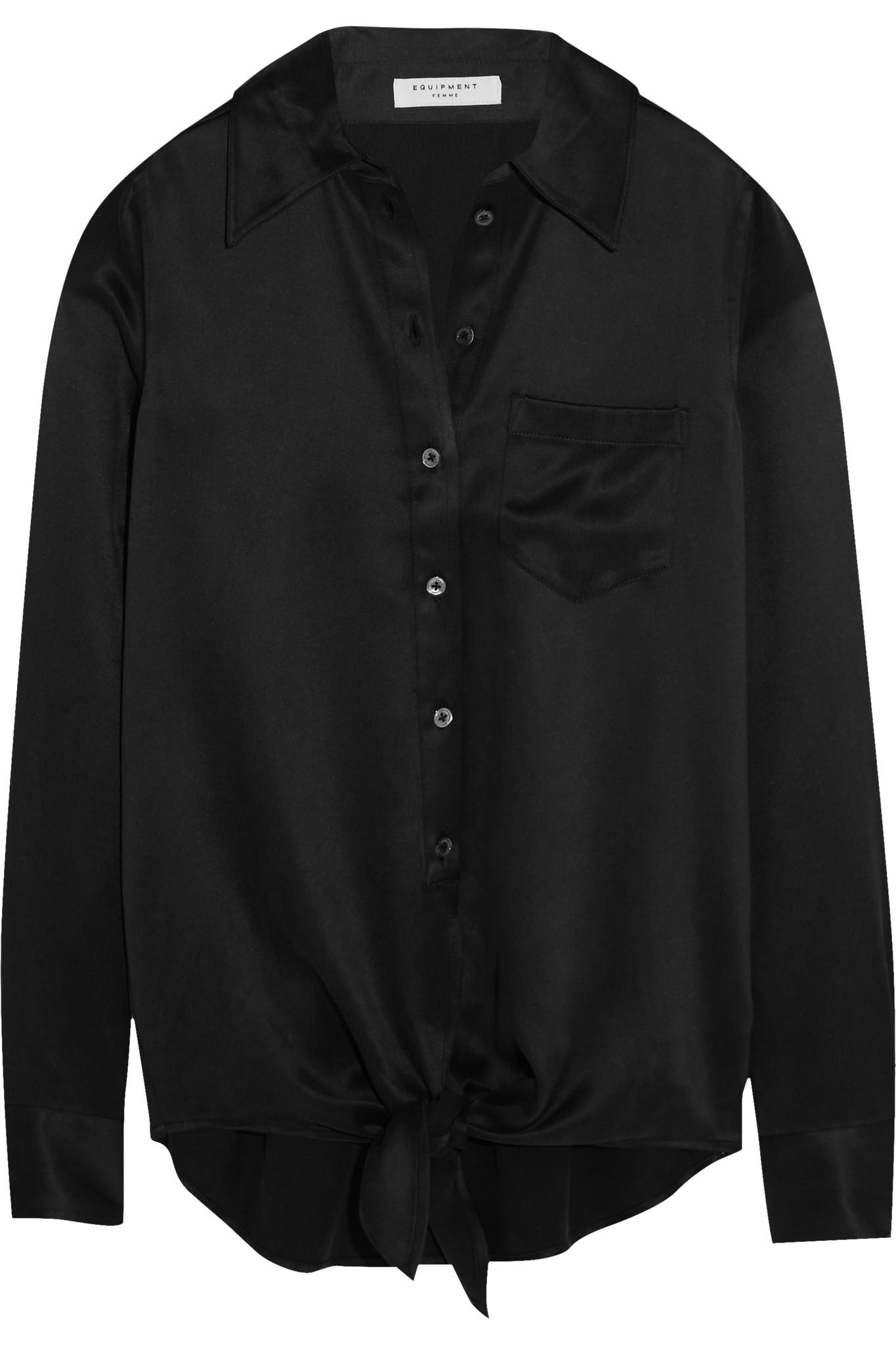 Equipment luis tie front silk charmeuse shirt in black lyst for Equipment black silk shirt