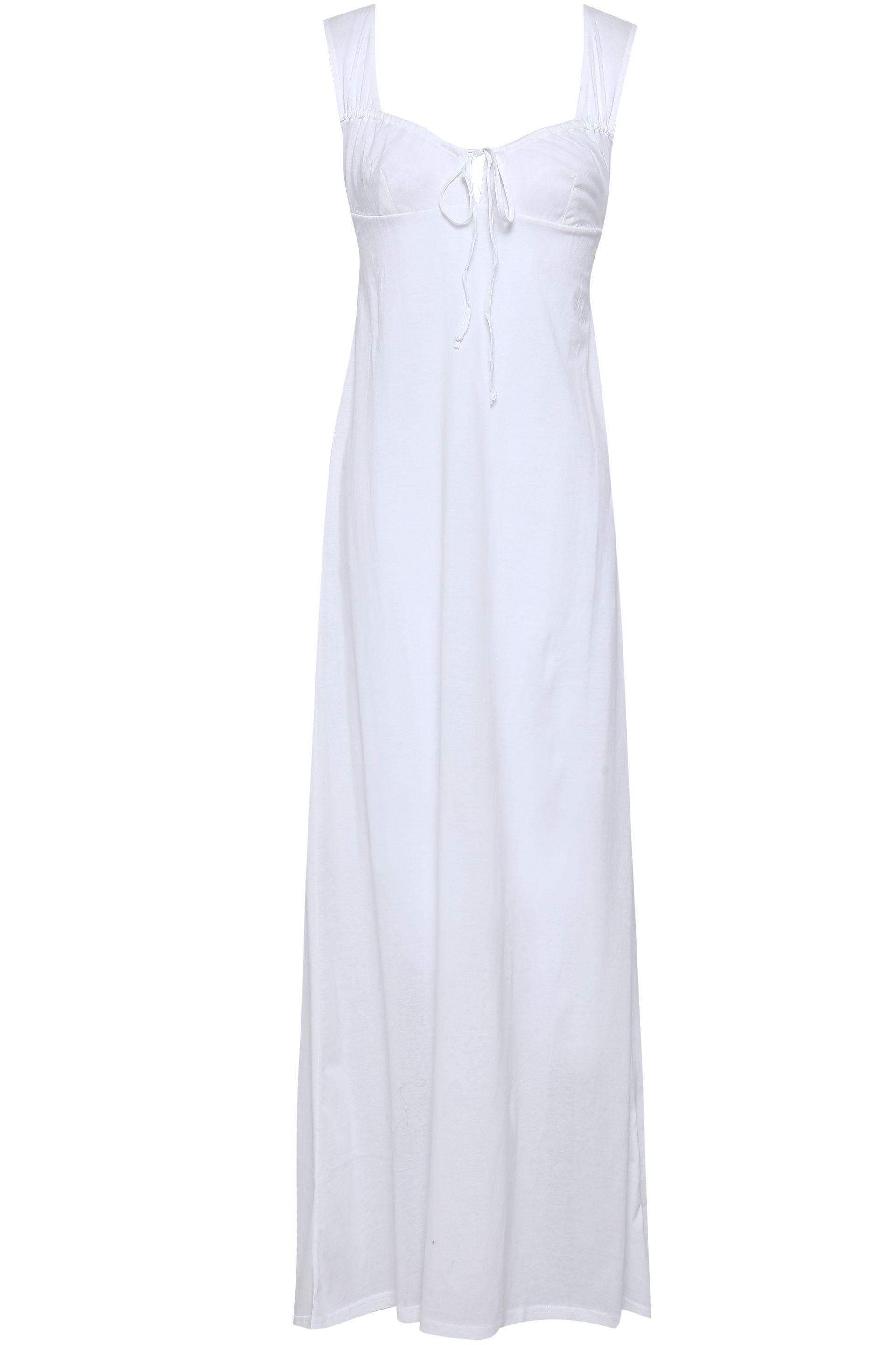 b7e2785639 Bodas Bow-detailed Shirred Cotton-jersey Nightdress in White - Lyst